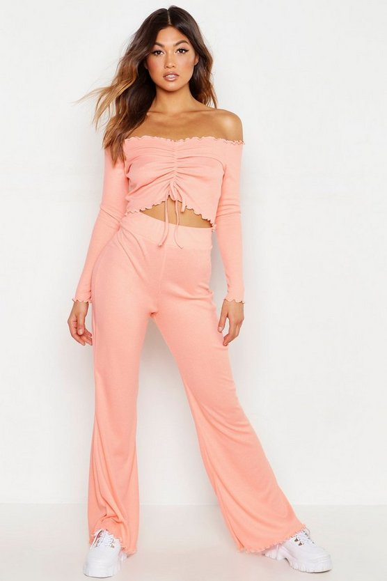 Ruched Front Long Sleeve Rib Top & Trouser Co-Ord