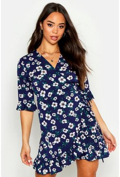 Womens Navy Floral Print Frill Hem Wrap Tea Dress