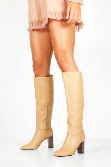 Womens Beige Block Heel Knee Boots