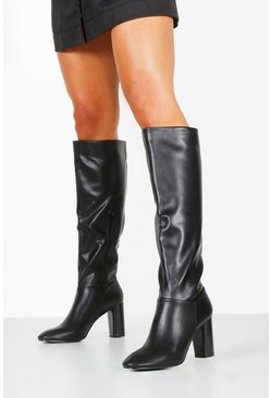 Womens Black Block Heel Knee Boots