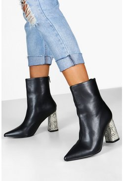 Black Snake Heel Pointed Shoe Boots