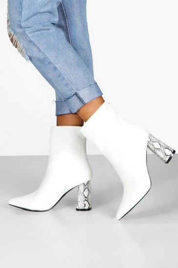 Womens White Snake Heel Pointed Shoe Boots