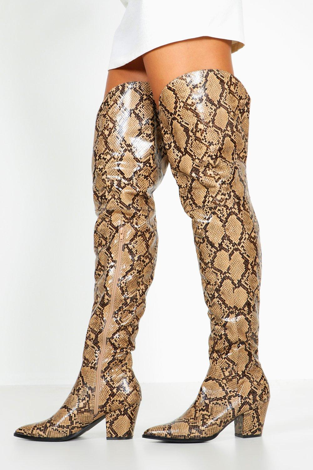 Thigh High Snake Western Boots, Brown