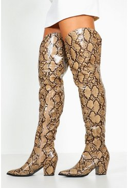 Brown Thigh High Snake Western Boots