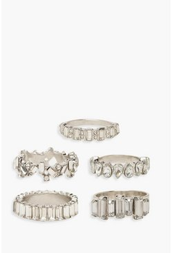 Silver Statement Diamante Ring Pack