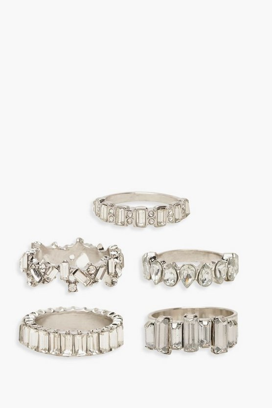 Womens Silver Statement Diamante Ring Pack