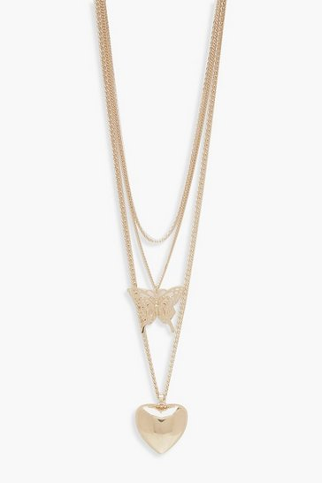 Womens Gold Butterfly & Heart Layered Necklace