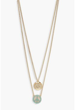 Womens Gold Peace & Eye Double Layer Necklace