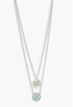 Womens Silver Peace & Eye Double Layer Necklace