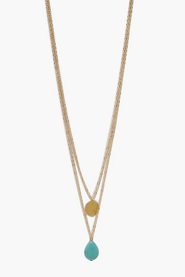 Gold Turquoise Stone & Coin Layered Necklace