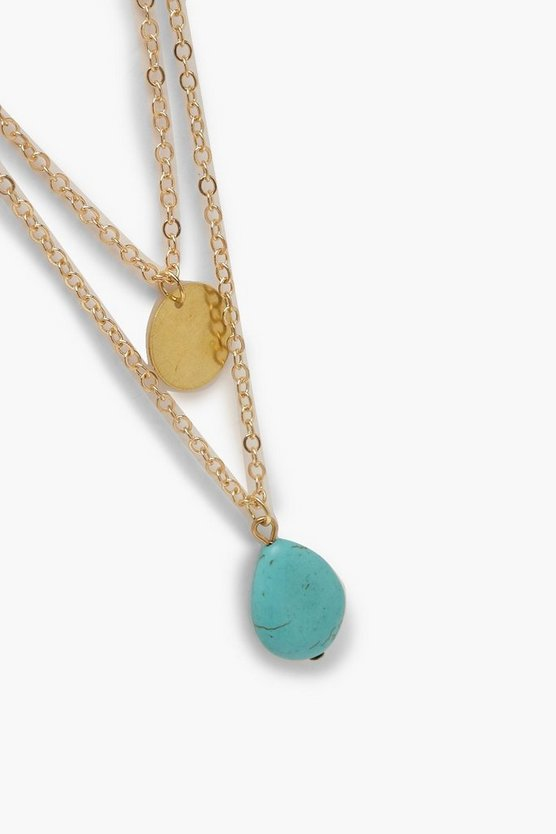 Turquoise Stone & Coin Layered Necklace