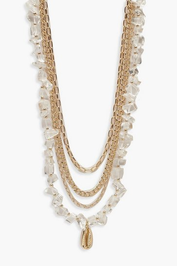 Womens Gold Clear Stone & Shell Layered Necklace
