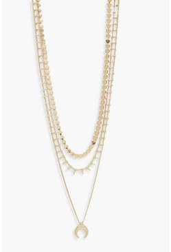 Womens Gold Horn & Chain Layered Necklace