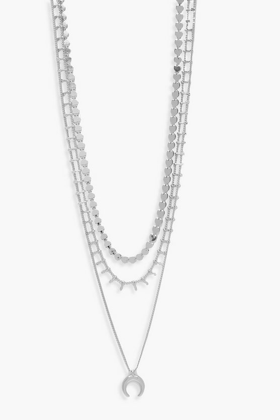 Womens Silver Horn & Chain Layered Necklace