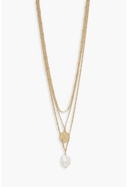 Womens Gold Coin & Hammered Pearl Layered Necklace