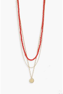 Womens Coral Coin & Bead Layered Necklace