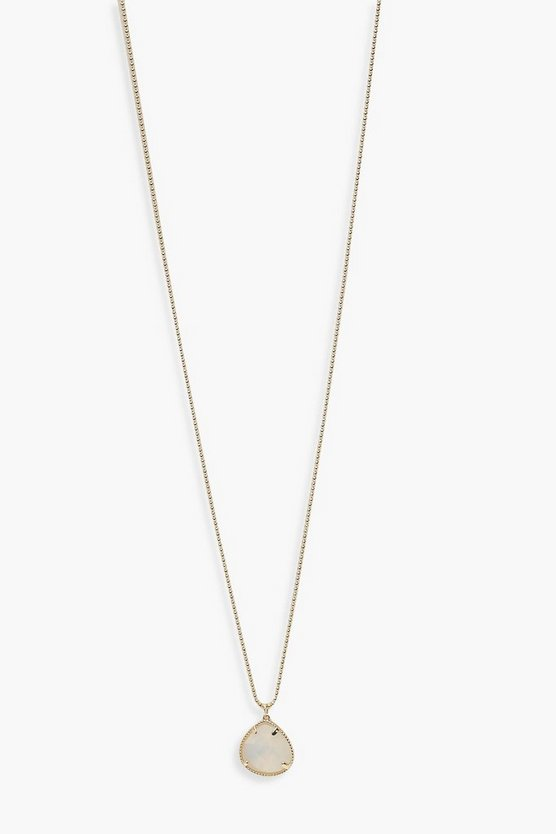 Gold Simple Iridescent Teardrop Pendant Necklace