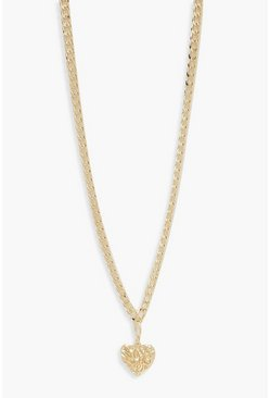 Womens Gold Textured Heart Chunky Chain Necklace