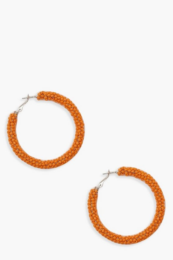 Womens Orange Micro Bead Hoop Earrings