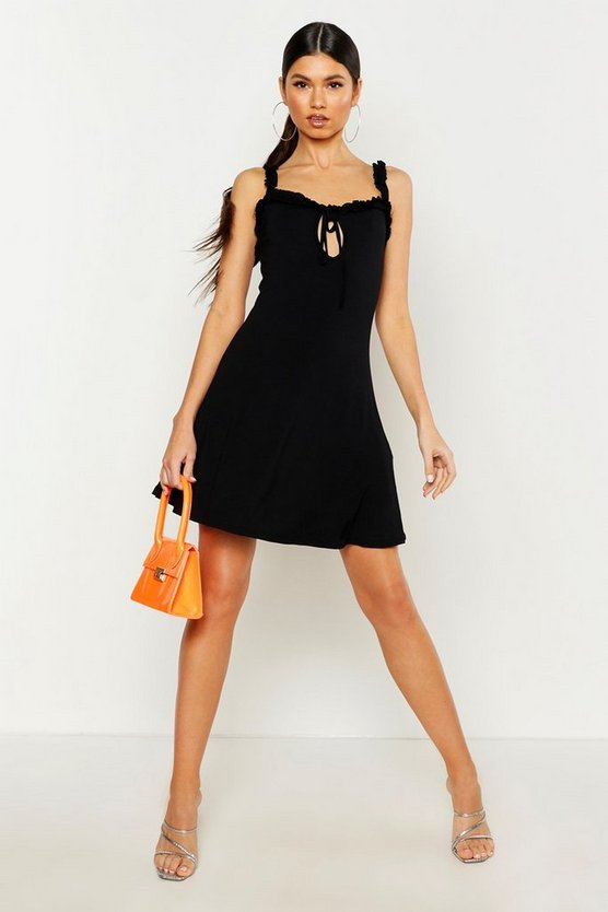 Womens Black Ruffle Tie Front Sundress