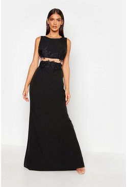 Womens Black Applique Floral Cut Out Detail Maxi Dress