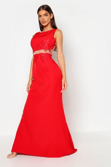 Womens Red Applique Floral Cut Out Detail Maxi Dress