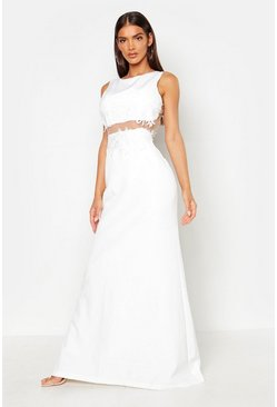 Womens White Applique Floral Cut Out Detail Maxi Dress
