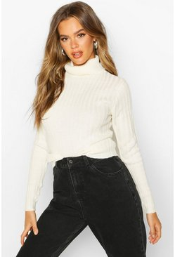 Womens Cream Roll Neck Ribbed Jumper