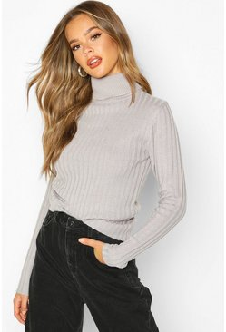 Womens Grey Roll Neck Ribbed Jumper