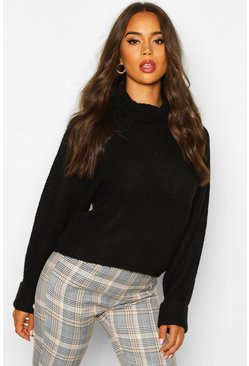 Black Roll Neck Raglan Sleeve Jumper