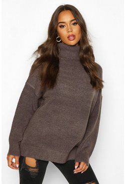 Womens Charcoal Roll Neck Drop Shoulder Longline Jumper