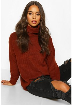 Womens Terracotta Roll Neck Drop Shoulder Longline Jumper