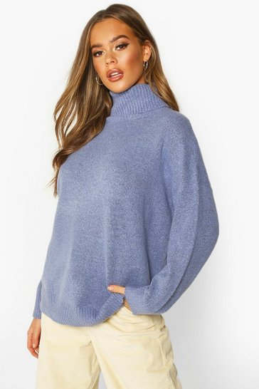 Womens Blue Roll Neck Drop Shoulder Longline Jumper