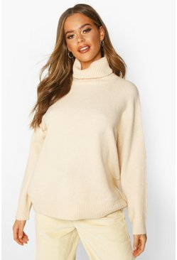 Womens Ivory Roll Neck Drop Shoulder Longline Jumper