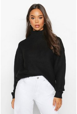 Womens Black High Neck Oversized Jumper