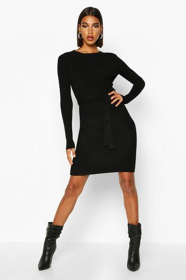 Black Belted Waist Knitted Mini Dress