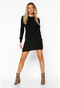 Dam Black Crew Neck Rib Knit Mini Dress