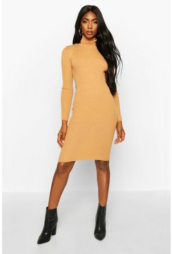 Womens Camel Turtle Neck Rib Knit Midi Dress