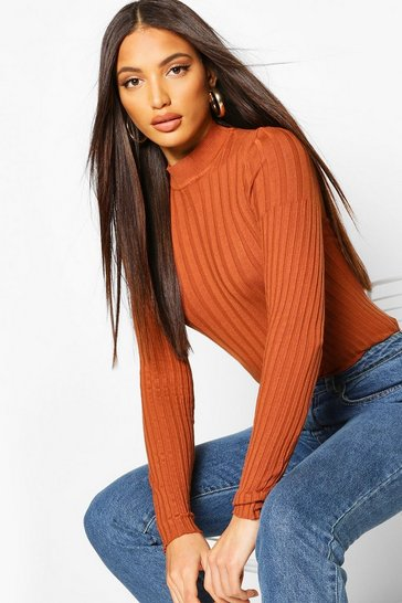 Womens Cinnamon Rib Knitted High Neck Top