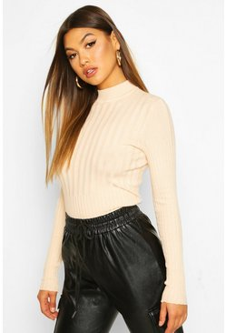 Womens Nude Rib Knitted High Neck Top