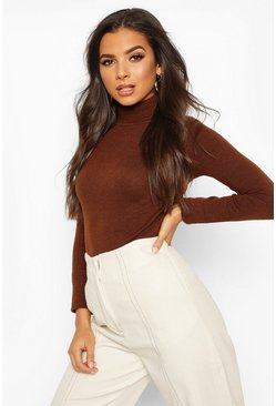 Womens Chocolate Roll Neck Knitted Jumper