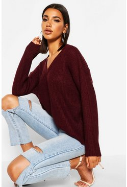 Womens Merlot Oversized V Neck Jumper