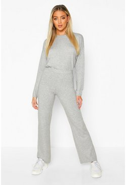Womens Grey Crew Neck Knitted Set