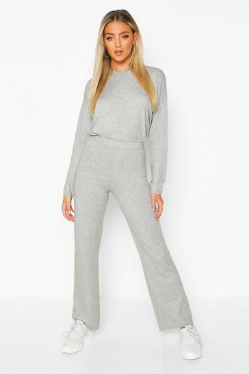 Grey Crew Neck Knitted Set