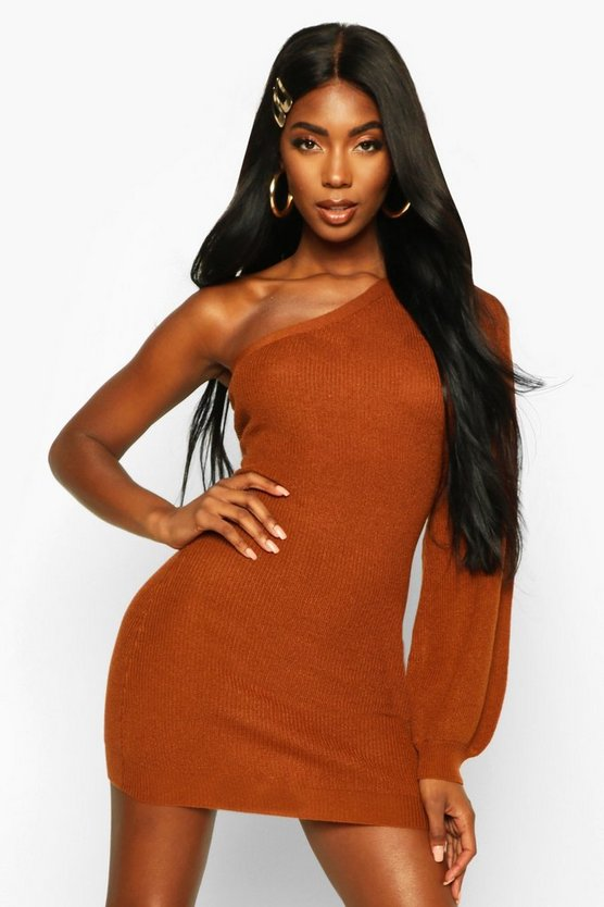 Amber Asymmetric One Shoulder Knitted Mini Dress