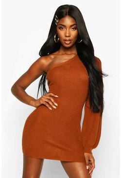 Dam Amber Asymmetric One Shoulder Knitted Mini Dress