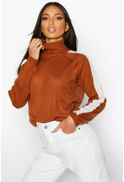 Womens Nutmeg Stripe Detail Roll Neck Jumper