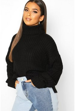 Womens Black Rib Knit Oversized Roll Neck Jumper