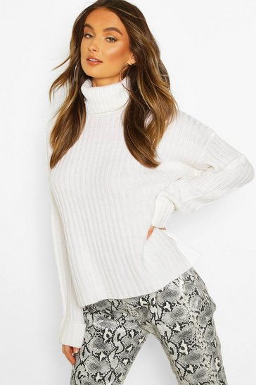 Womens Ivory Rib Knit Oversized Roll Neck Jumper