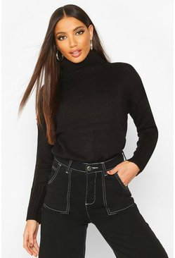 Womens Black Roll Neck Drop Shoulder Jumper